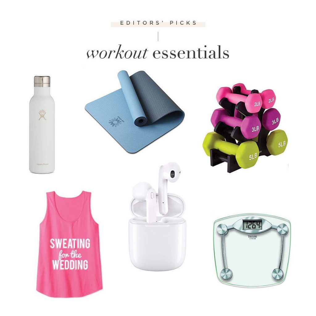The countdown to the big day starts NOW, and we're sharing our favorite pre-wedding workout essentials! Pack your water bottle