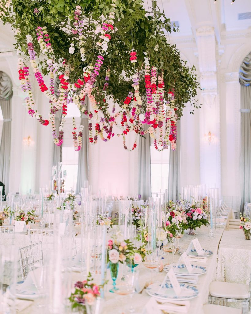 Clarey Allen and Layton Sharum's colorful summer wedding is the perfect mix of whimsy and elegance, and Magpie Events designed