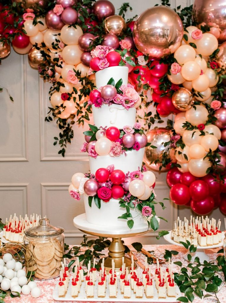 pink wedding cake balloons